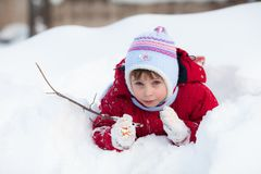 Kid on the snow Stock Photography