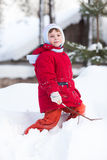 Kid on the snow Royalty Free Stock Image