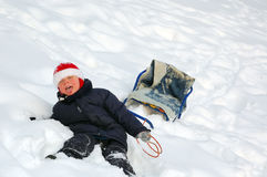 Kid in snow Royalty Free Stock Photography