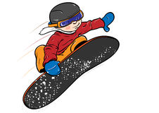 Kid on snowboard. A young kid jumping with snowboard Royalty Free Stock Images