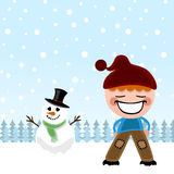 Kid and snowman Royalty Free Stock Photos