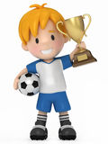 Kid with Soccer ball and Trophy Stock Photos