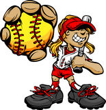 Kid Softball Player Holding Baseball and Bat vector illustration