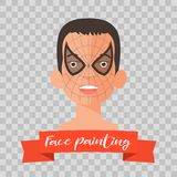 Kid with spider face painting vector illustrations. On transparent background. Child face with hero makeup painted for kids party Stock Images