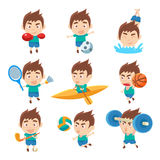 Kid Sportsman Doing Different Sport Types Collectio Of Illustrations Royalty Free Stock Photography