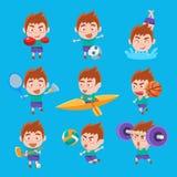 Kid Sportsman Doing Different Sport Types Set Of Illustrations Stock Images