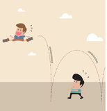Kid with spring at shoe jump across another man vector illustration