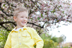 Kid at spring Stock Photo