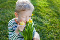 Kid at spring Stock Images