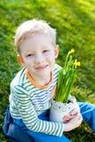 Kid at spring Stock Image