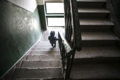 Kid on stairway Royalty Free Stock Photography