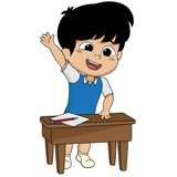 Kid stand up and ask a question.back to school. Vector and illustration Royalty Free Stock Photography