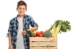 Kid standing by a crate with vegetables Stock Images