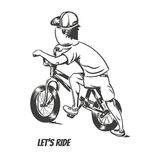 Kid starting bmx ride. EPS10 vector illustration Stock Photo