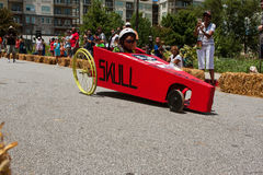 Kid Steers Homemade Car In Atlanta Soap Box Derby Event Stock Photos