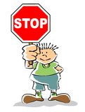 Kid with stop sign. Stop violence against children. Stop violence. Stop child abuse. Signal traffic stop. Conceptual image to stop activities or undesirable Royalty Free Illustration