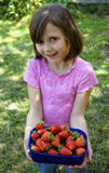 Kid with strawberries Royalty Free Stock Photo