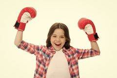 Kid strong and independent girl. Feel powerful. Girls power concept. Feminist upbringing and female rights. Fight for. Her rights. Female rights and liberties stock photo