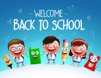 Kid students vector characters and funny school items mascot. Happy holding each other in a horizon for back to school background. Vector illustration Royalty Free Stock Photo