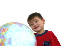 Kid studying. Studying geography Royalty Free Stock Image