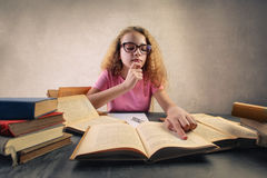 Kid studying stock photography