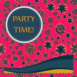 Kid Style Print Party Time. With bend Lines Royalty Free Stock Image