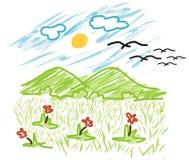 Kid style Vector Mountain and sun. With flower garden Stock Photo