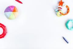Kid stylish toys set on white background top view mock-up Stock Image