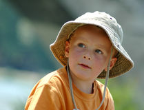 Kid in Summer. Portrait of a young boy (4) with sun hat Stock Images