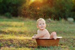 Kid and sun Royalty Free Stock Photography