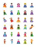 Kid Superheroes Cartoon Illustrations. A colorful set of kid superheroes cartoon illustrations. The pack comprises of kids all time favorite cartoon characters stock illustration