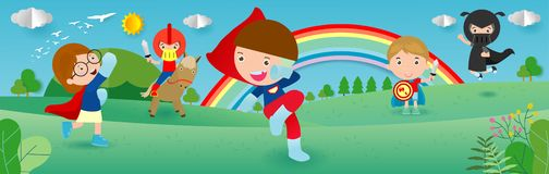 Kid Superheroes wearing comics costumes,child With Super hero Costumes set, Cute little Children`s in Superhero costume characters stock illustration