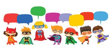 Kid Superheroes wearing comics costumes and speech bubbles royalty free illustration
