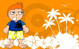 Kid surfer cartoon background angry Stock Photo