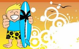 Kid surfer cartoon background happy Stock Photography