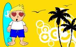 Kid surfer cartoon background inlove Stock Images