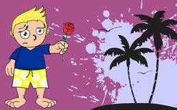 Kid surfer cartoon background rose Stock Photography