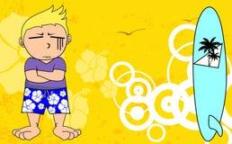Kid surfer cartoon background sad Stock Images
