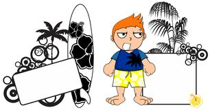 Kid surfer expression cartoon copyspace angry Royalty Free Stock Image