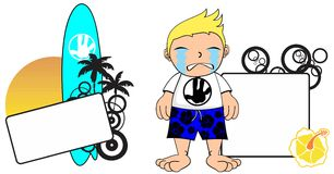 Kid surfer expression cartoon copyspace crying Royalty Free Stock Image