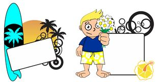 Kid surfer expression cartoon copyspace flowers2 Royalty Free Stock Photos
