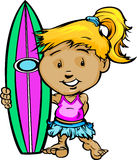 Kid Surfer Girl Holding Surfboard Image Stock Photo