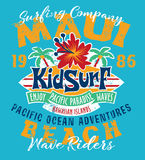 Kid surfing team Hawaii pacific ocean. Vector print for children wear grunge effect in separate layerr vector illustration