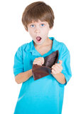 A kid surprised by his dads empty wallet Stock Images