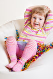 Kid with sweets Stock Photos