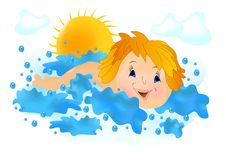 Kid swimming, cdr vector Royalty Free Stock Images