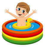 Kid Swimming in Inflatable Pool royalty free stock images
