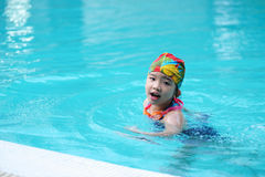 Kid in the swimming pool Royalty Free Stock Photos