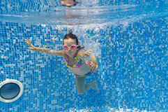 Kid swimming underwater in pool Royalty Free Stock Photo