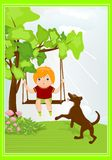 Kid on swing stock images